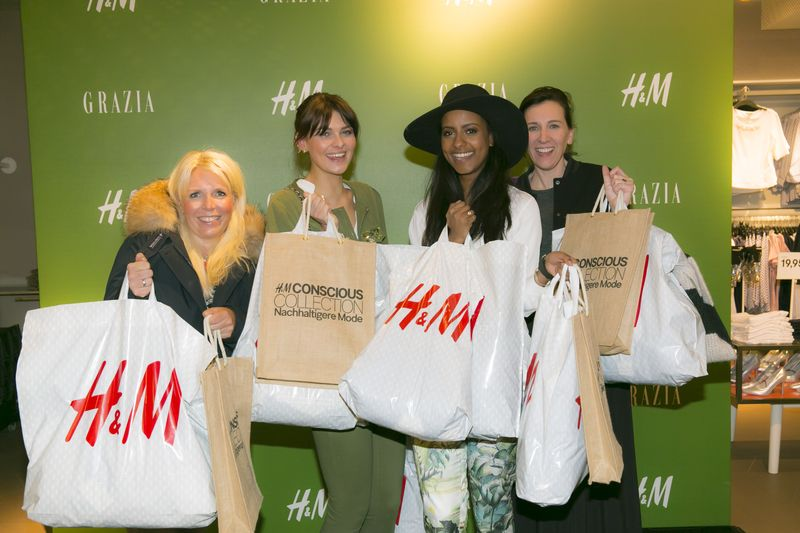 Astrid Bleeker, G+J Director Brand Solutions Grazia, Model Janina Delia Schmidt, Model Sara Nuru, Claudia ten Hoevel, Chefredakteurin Grazia