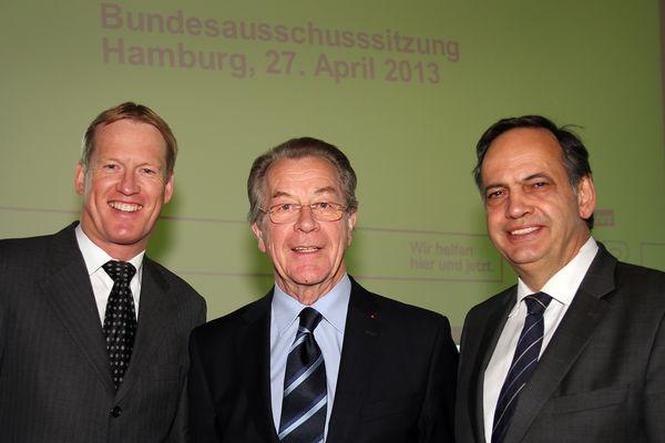 Christian Reuter, Bundesgeschäftsführer, Franz Müntefering, ASB-Präsident, Knut Fleckenstein, ASB-Bundesvorsitzender