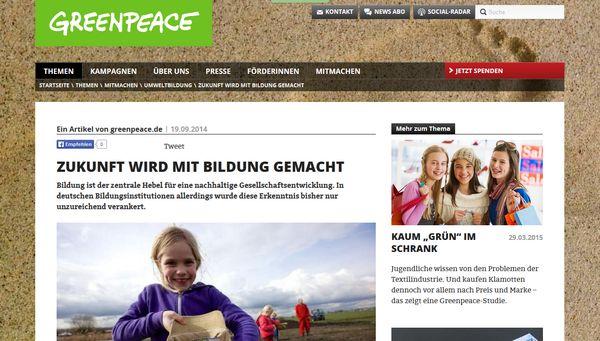 Greenpeace-Nachhaltigkeitsstudie: Schule bremst Jugend aus