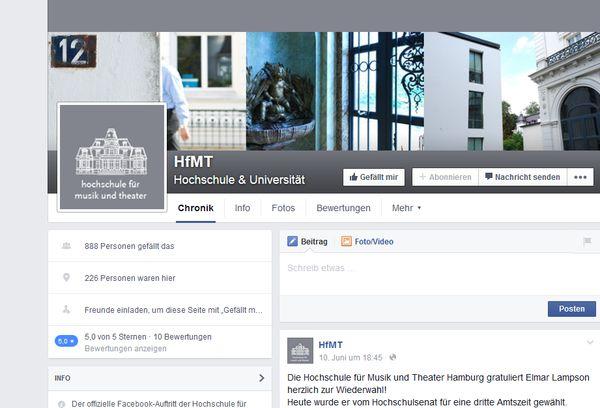 Screenshot der Facebook-Seite der HfMT