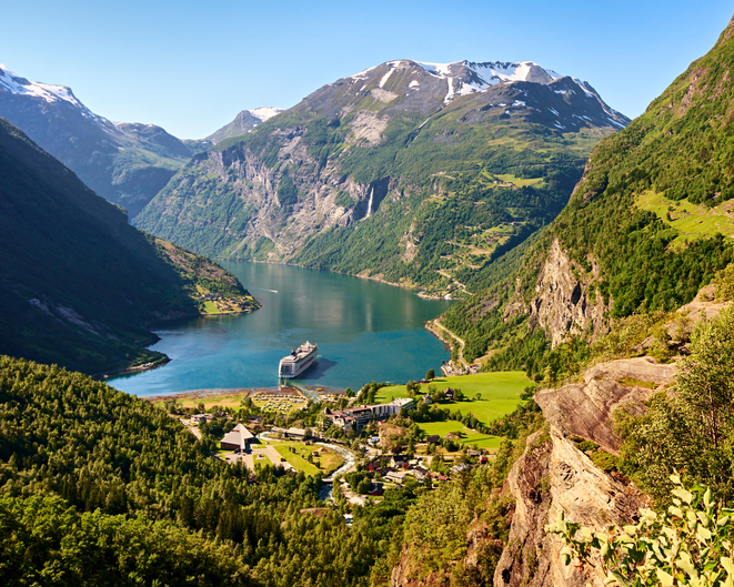 View of famous Geiranger fjord, Norway