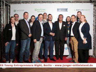 Mittelstandspräsident Mario Ohoven (4.v.re.) beim Europäischen G20 Gipfel junger Unternehmer in Berlin