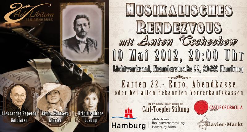 Ein Abend russischer Klassik und Dichtung von Anton Tschechow am 10.05.2012 im Hamburger Lichtwarksaal