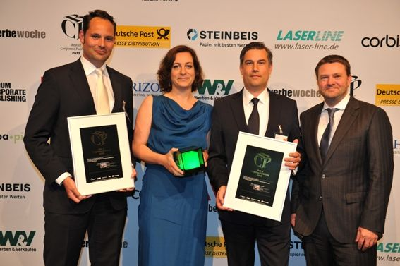 Peter Rosken (Audi), Sandra Harzer-Kux (Corporate Editors), Martin Primus (Audi) und Christian Krug (Corporate Editors)