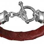 Dunkelrotes Rindsnappaleder, 925/- Sterling Silber, Onyx, 339,- €