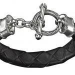 Schwarzes Rindsnappaleder, 925/- Sterling Silber, Onyx, 339,- €