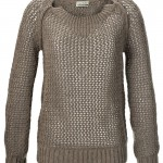 Closed Sweater in Handknit Optik mit Hole Pattern in Braun, 169,- Euro