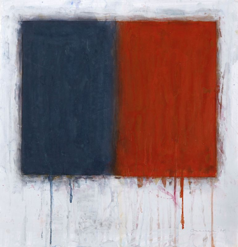 Bernd Berner (1930-2002): Flächenraum geteilt (blau-rot), 1998, Mischtechnik auf Malkarton 36 x 35 cm