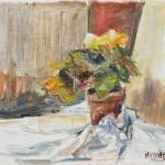 Hans Wrage: Blumen vor rot, 1980