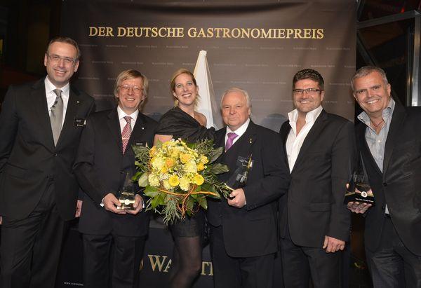 Lothar Menge, Roland Fischer, Catharina Cramer, Prof. Dr. h. c. Eckart Witzigmann, Marc Ciunis und Christoph Strenger
