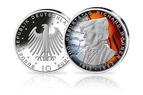 10-Euro-Münze Richard Wagner als colorierte Sonderausgabe