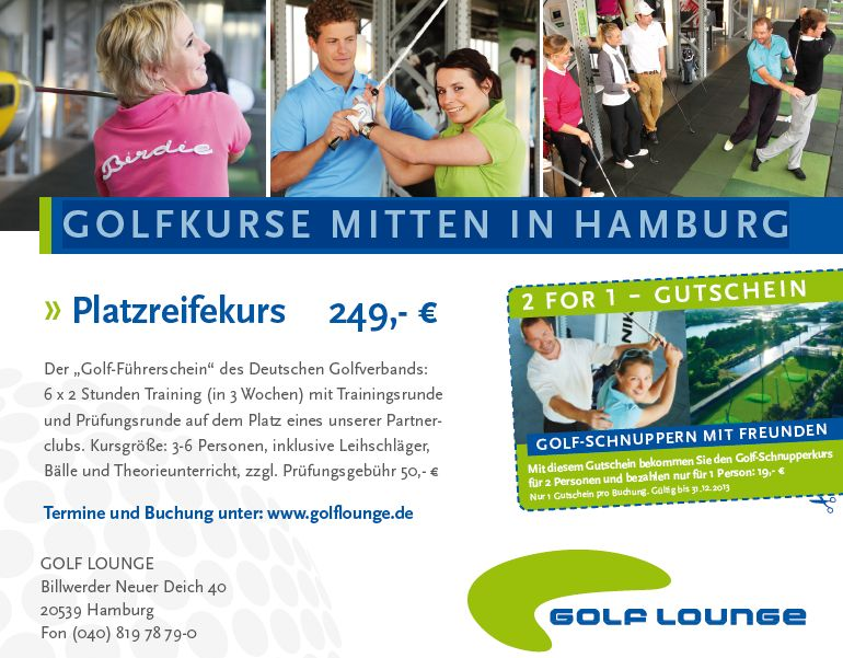 Golf Lounge Hamburg: Golfkurse mitten in Hamburg