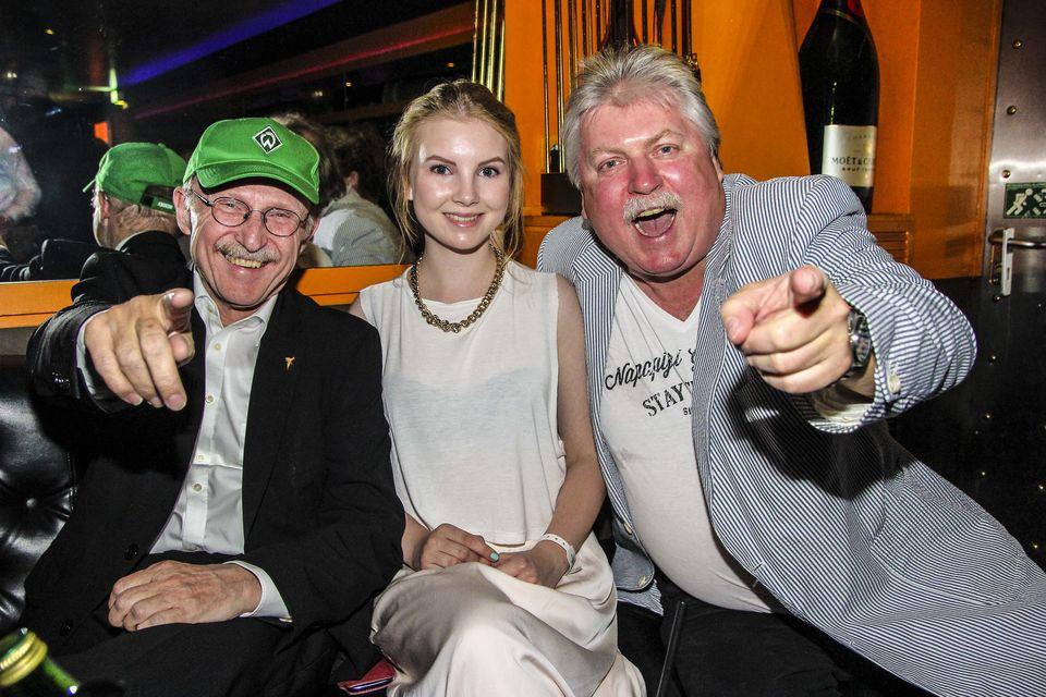 Willi Lemke mit Tochter Nele, Klaus Baumgart