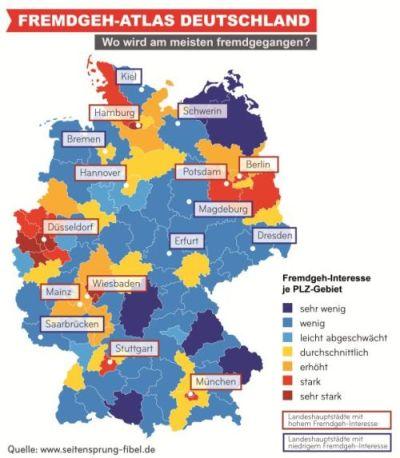 Fremdgeh-Atlas Deutschland: In diesen Regionen wird am meisten fremdgegangen.
