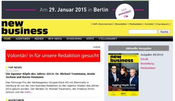 Aktuelle Medieninfos unter new-business.de