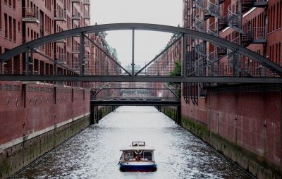 Sightseeing Boat In Hamburg Speicherstadt