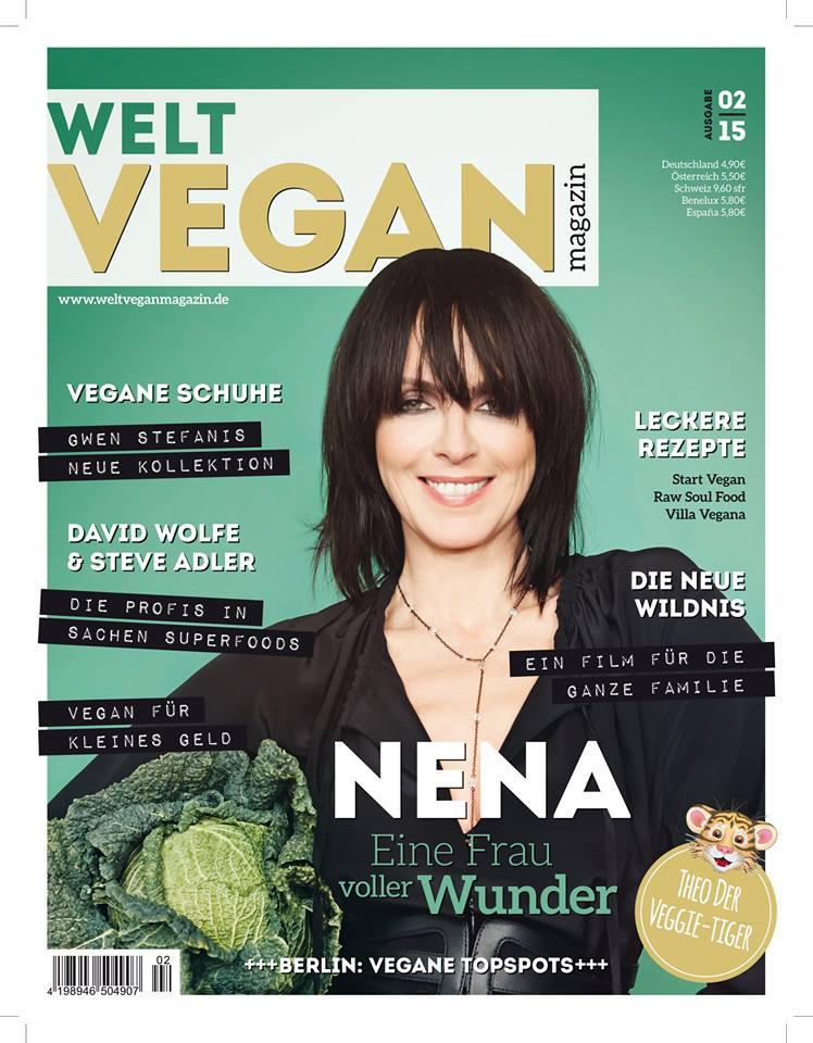 Nachdem der Vegan-Koch Björn Moschinski das Cover der Erstausgabe zierte, posiert nun Sängerin Nena auf dem aktuellen Titelbild des Welt Vegan Magazins