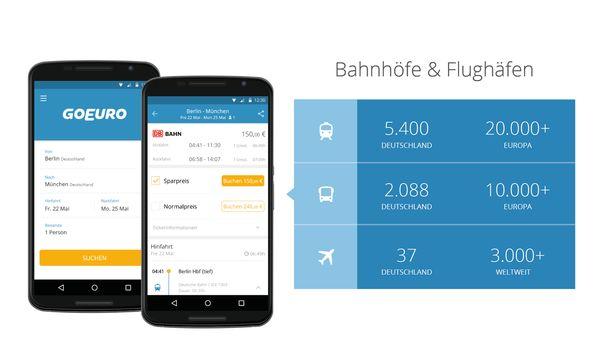 Die GoEuro App bietet den Service von drei Apps vereint in einer Einzigen