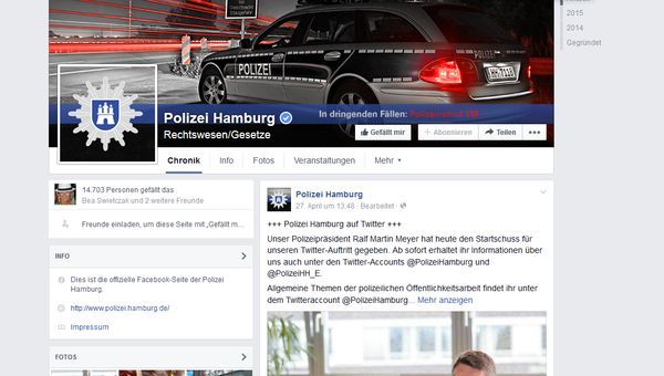 Polizei Hamburg Facebook Screenshot