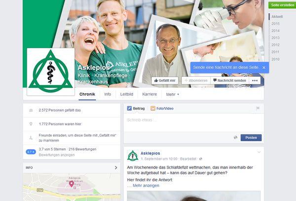 Screenshot der Facebook-Seite der Asklepioskliniken
