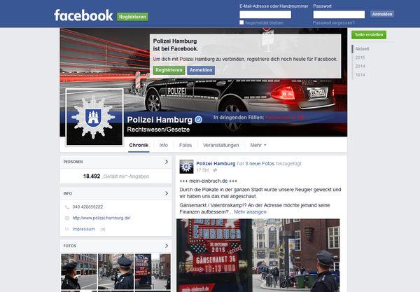 Screenshot der Facebook-Seite der Hamburger Polizei