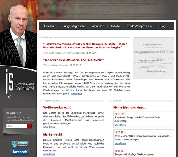 Screenshot der Website des Juristen Joachim Steinhöfel