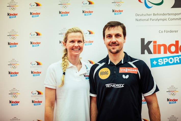 """""""kinder+Sport""""-Botschafterin Britta Steffen und Timo Boll beim Sportcamp für Kinder und Jugendliche in Düsseldorf"""