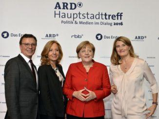 Volker Herres, Patricia Schlesinger, Angela Merkel, Tina Hassel