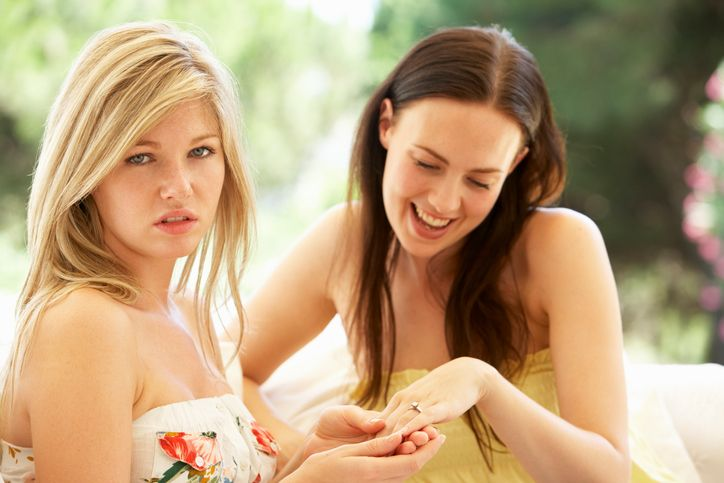 Young Woman Showing Jealous Friend Engagement Ring