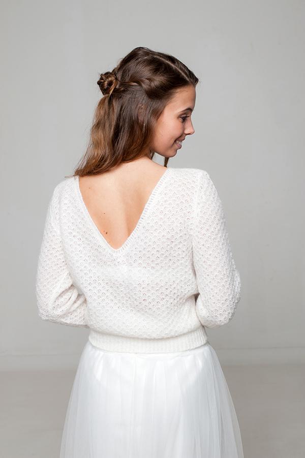 Elly der Brautpulover gestrickt in luftiger Lace Optik