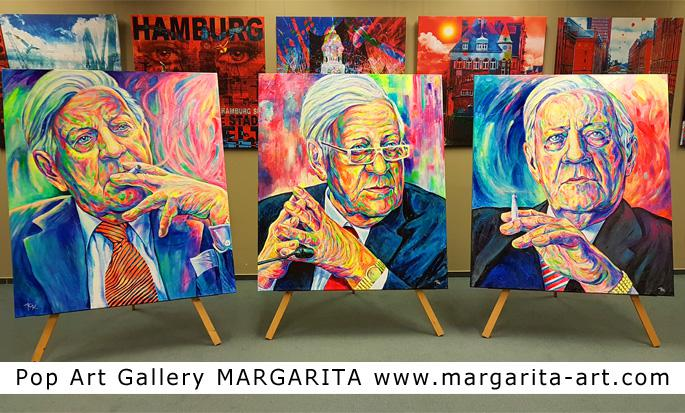 Drei Helmut Schmidt Portraits in der Pop Art Gallery Margarita