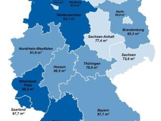 Durchschnittliche Wohnungsgröße nach Bundesland