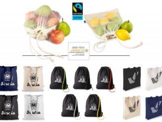 oben: Foodbags Adam und Eva, unten: Baumwolltaschen, Baumwollrucksäcke