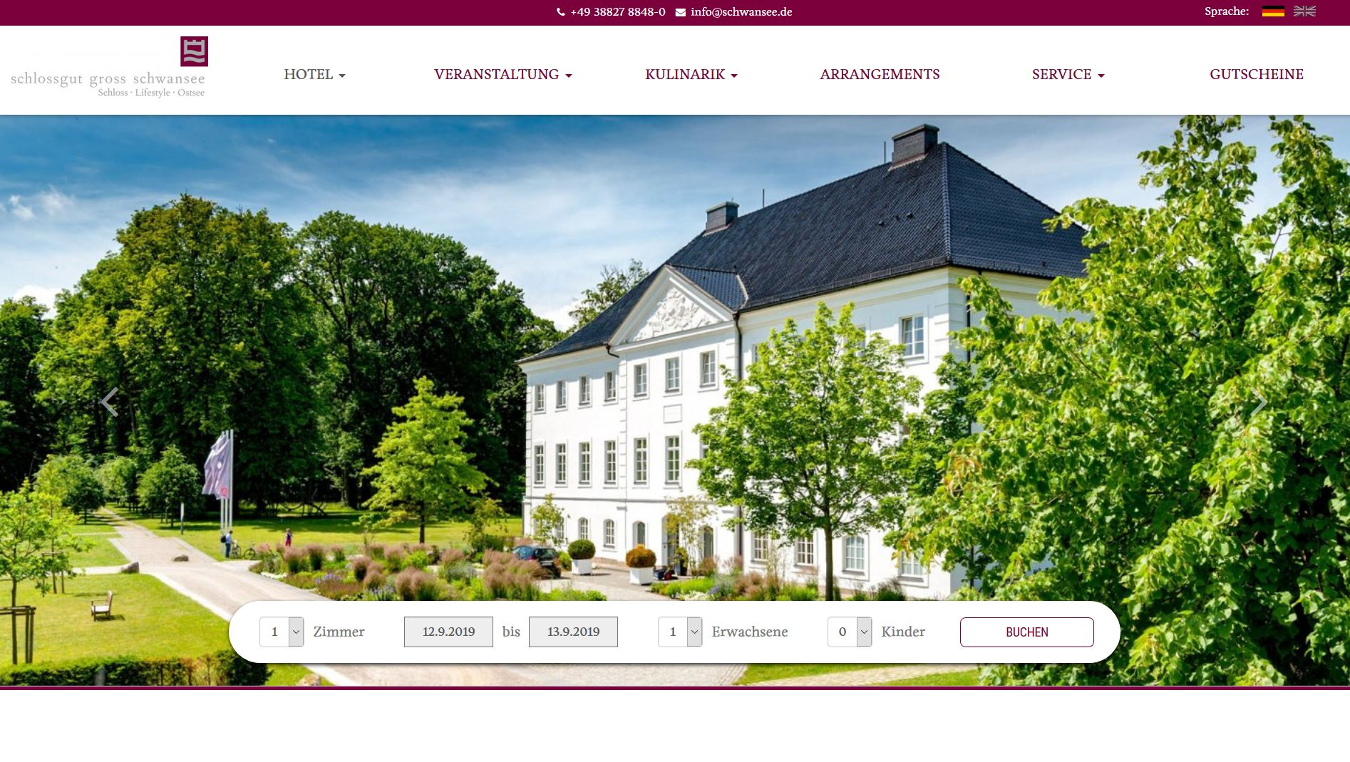 Screenshot Website schloss gut schwansee