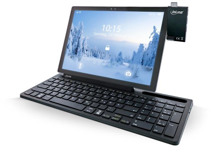 Mit bis zu vier Geräten kommuniziert die Bluetooth-Aluminium-Tastatur 4-in-1