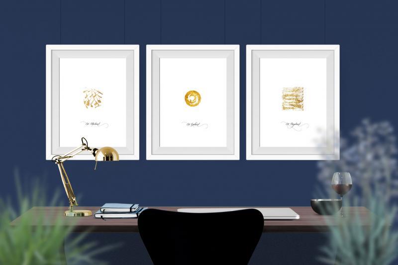 Bilder 3 Erzengel mit purem Blattgold in blauem Interieur