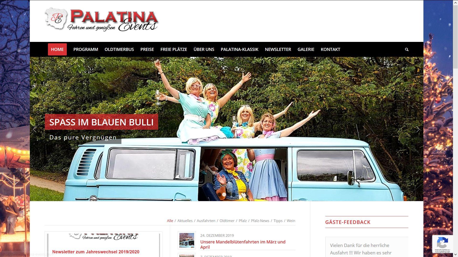 Screenshot Website Palatina events