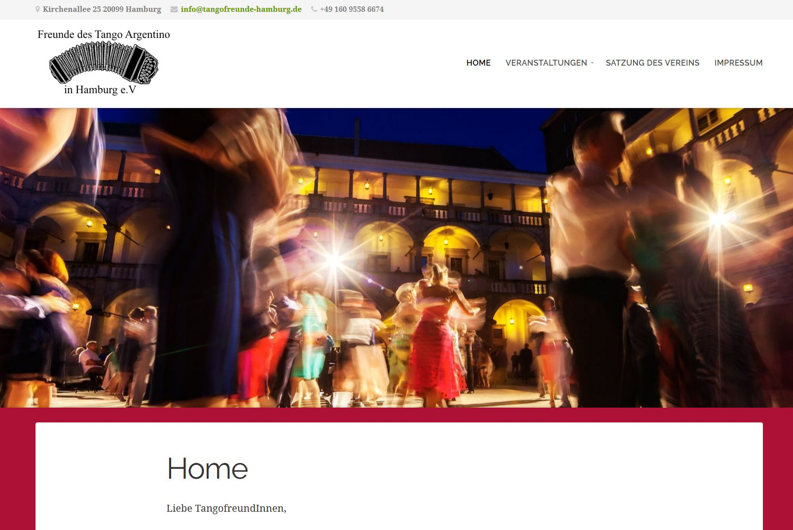 Screenshot Website Tangofreunde Hamburg