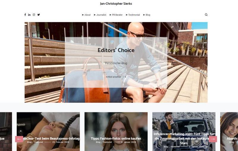"""Auch im digitalen Bereich ist oftmals eine Schönheitskur notwendig. Die Website https://www.sierks.com, der persönliche Blog von Jan-Christopher Sierks, einem Journalisten aus Hamburg, bekam nun einen Relaunch. """"Ich freue mich sehr, dass die Site"""