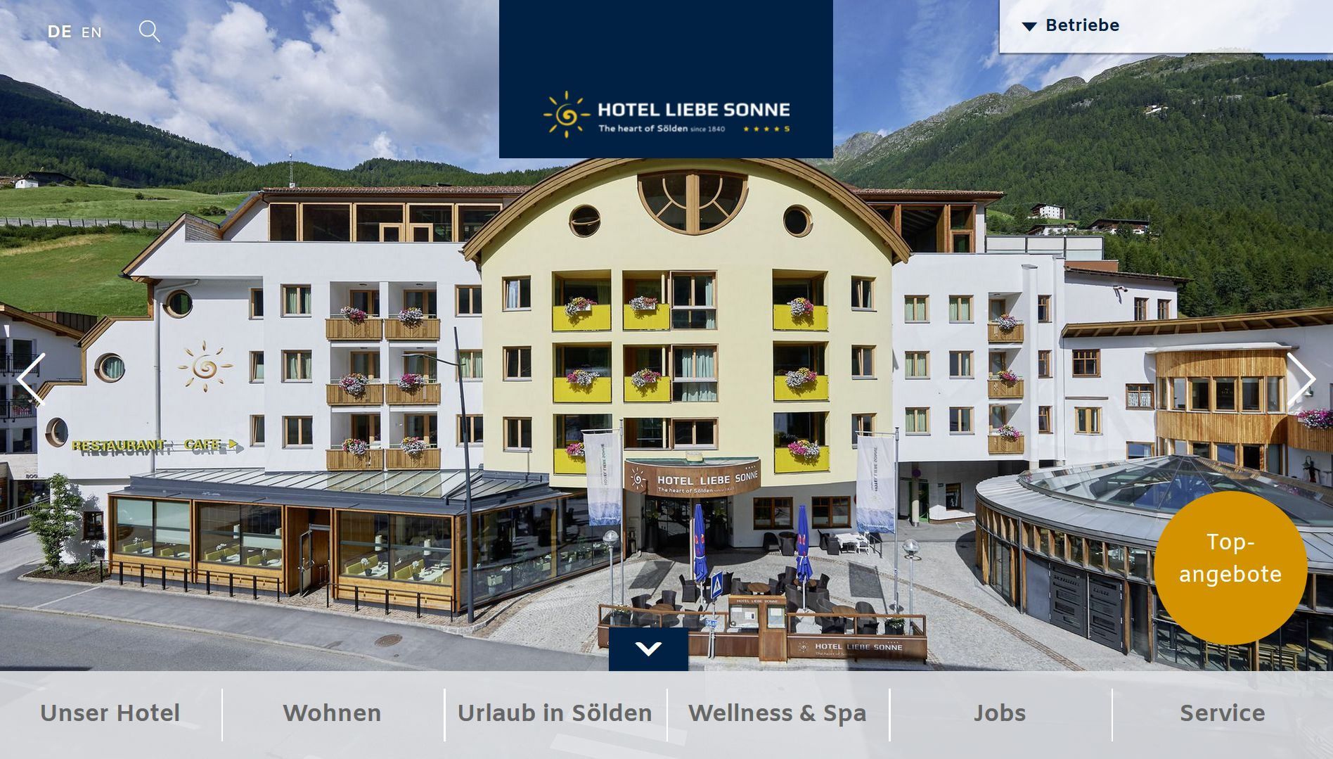 Screenshot Website Hotel Liebe Sonne
