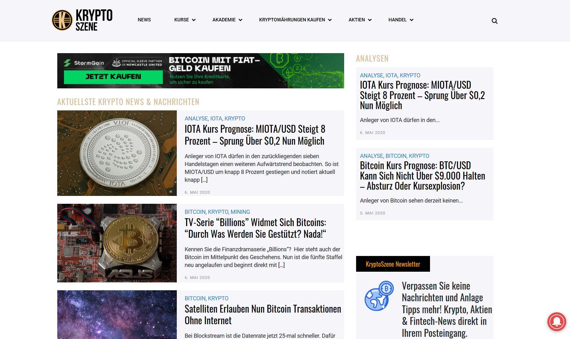 Screenshot Website Krypto Szene