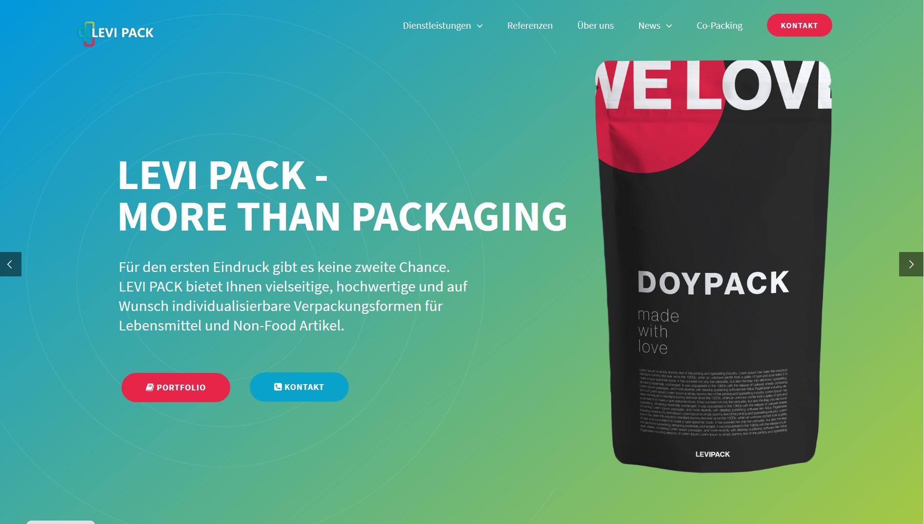 Screenshot Website Levi pack