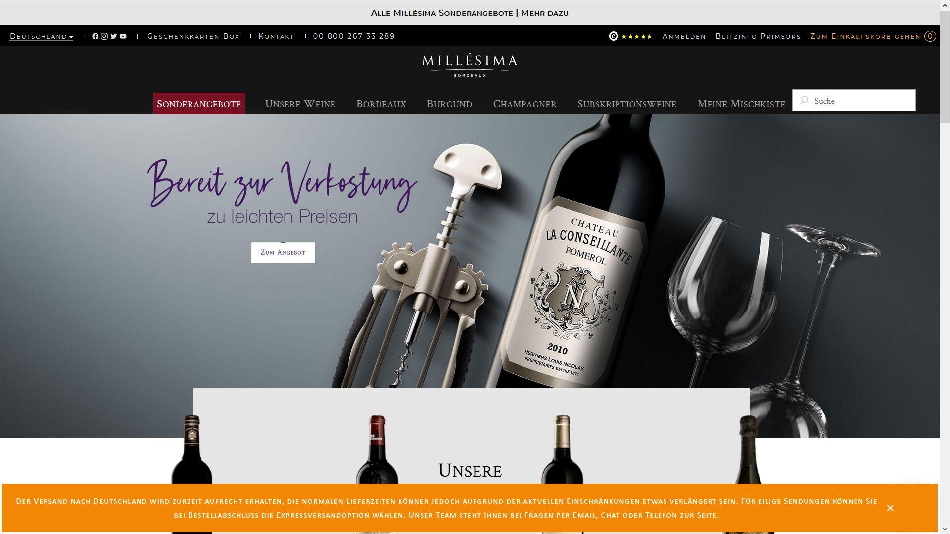 Screenshot Website Vino