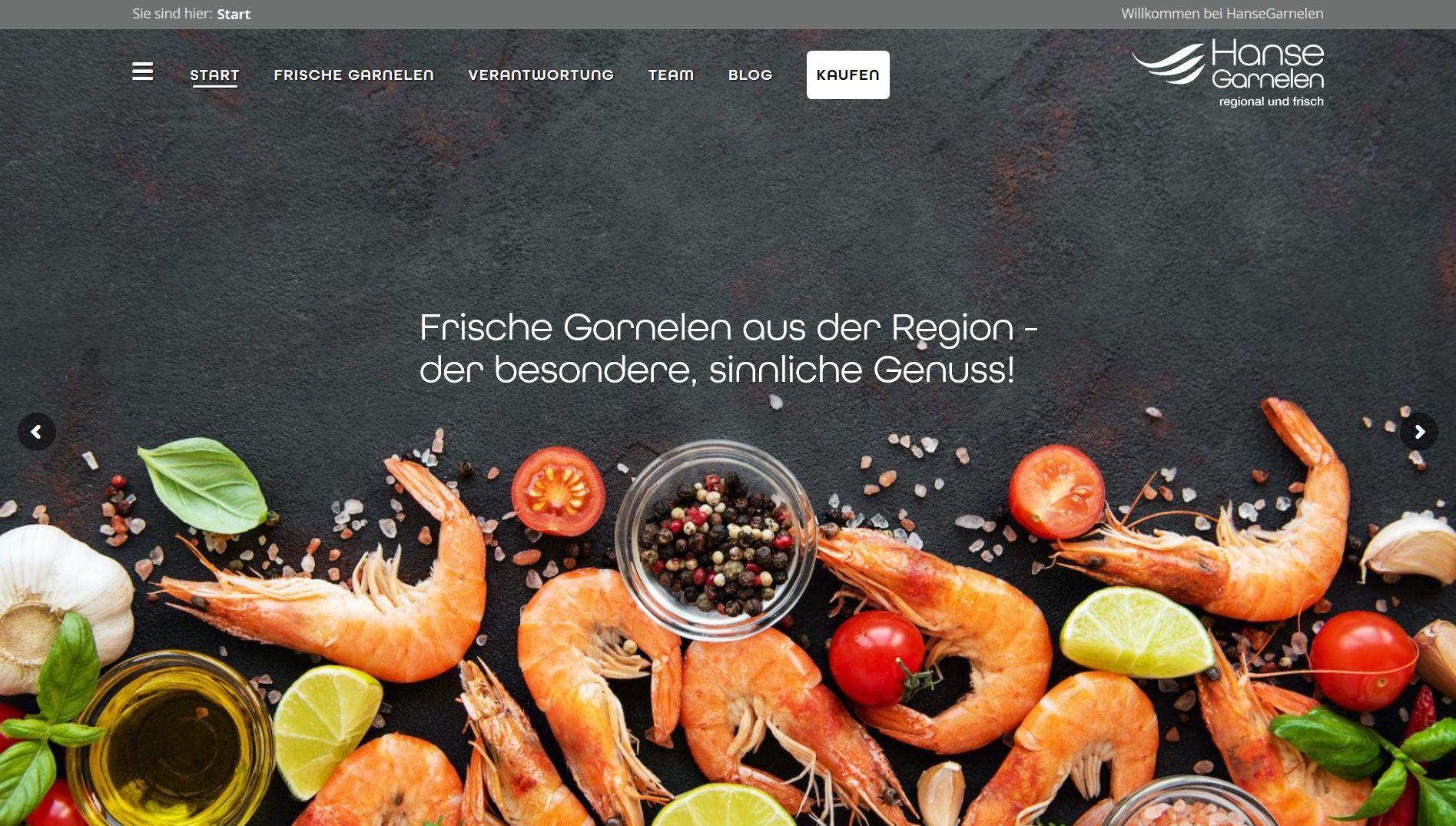 Screenshot Website Hansegarnelen
