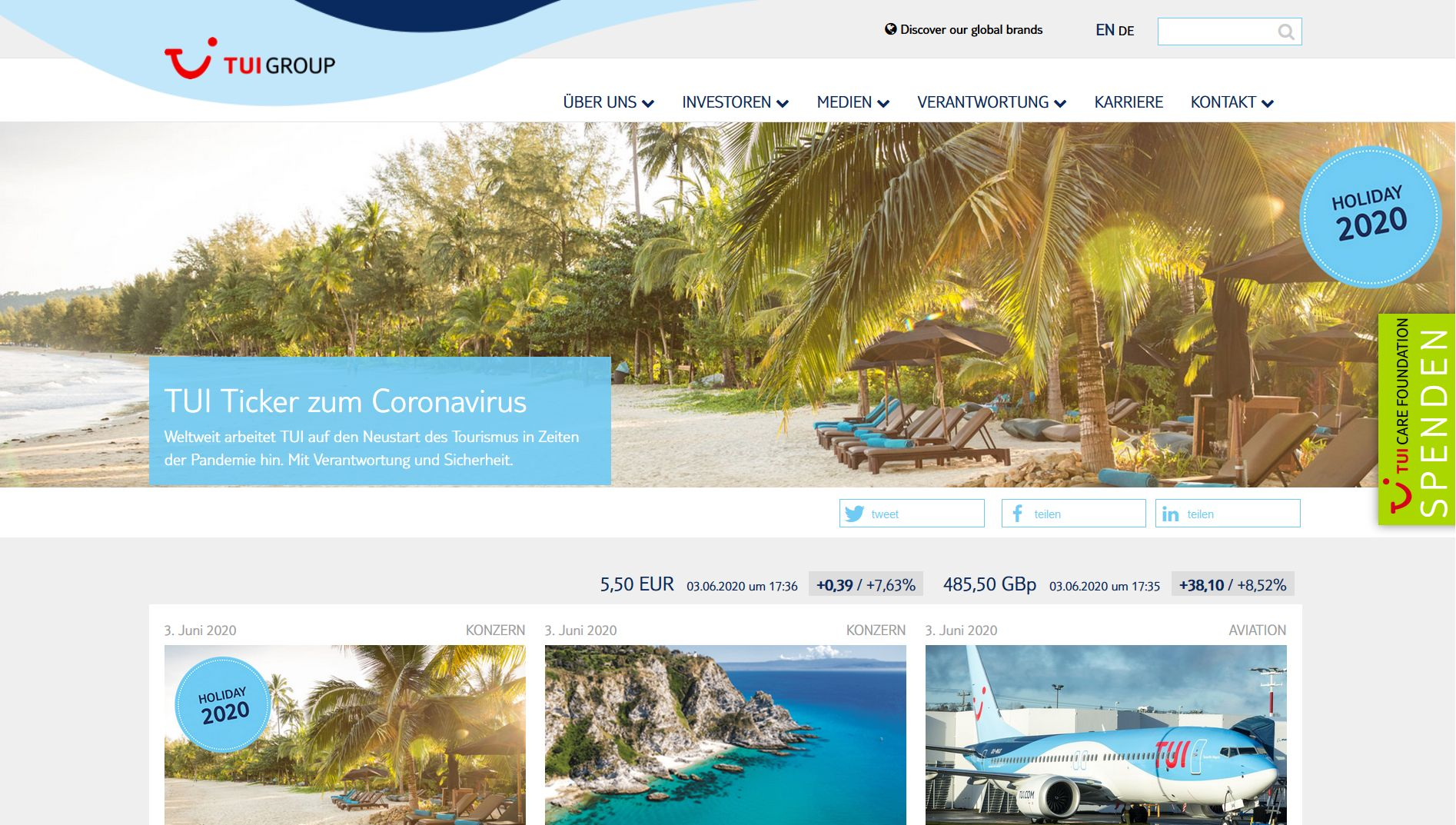 Screenshot Website TUI