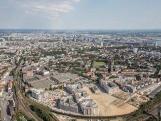 Die Kranbauten Hamburg-Altona aus der Luft (links unten)