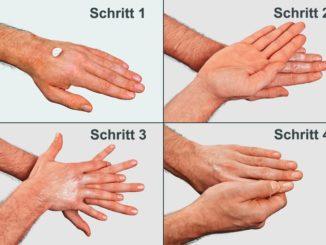 Systematisches Eincremen der Hände in vier Schritten
