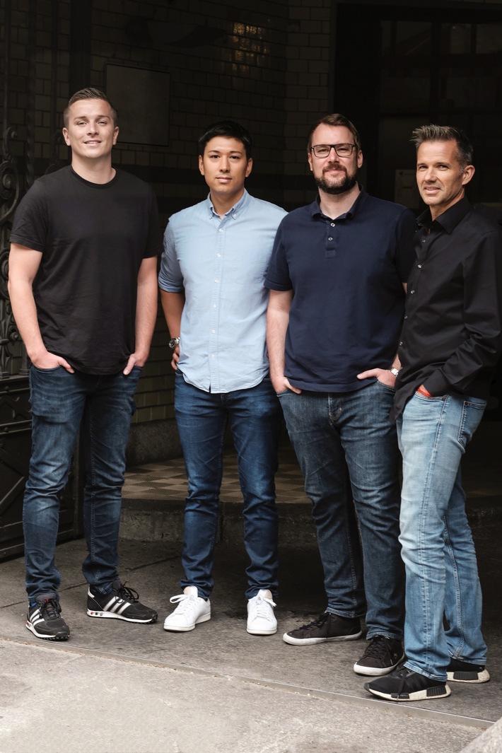 (v.l.): Aaron Troschke (Gründer ReachHero), Philipp John (Gründer ReachHero), Christian Chyzyk (Gründer ReachHero) und Stefan Rascher