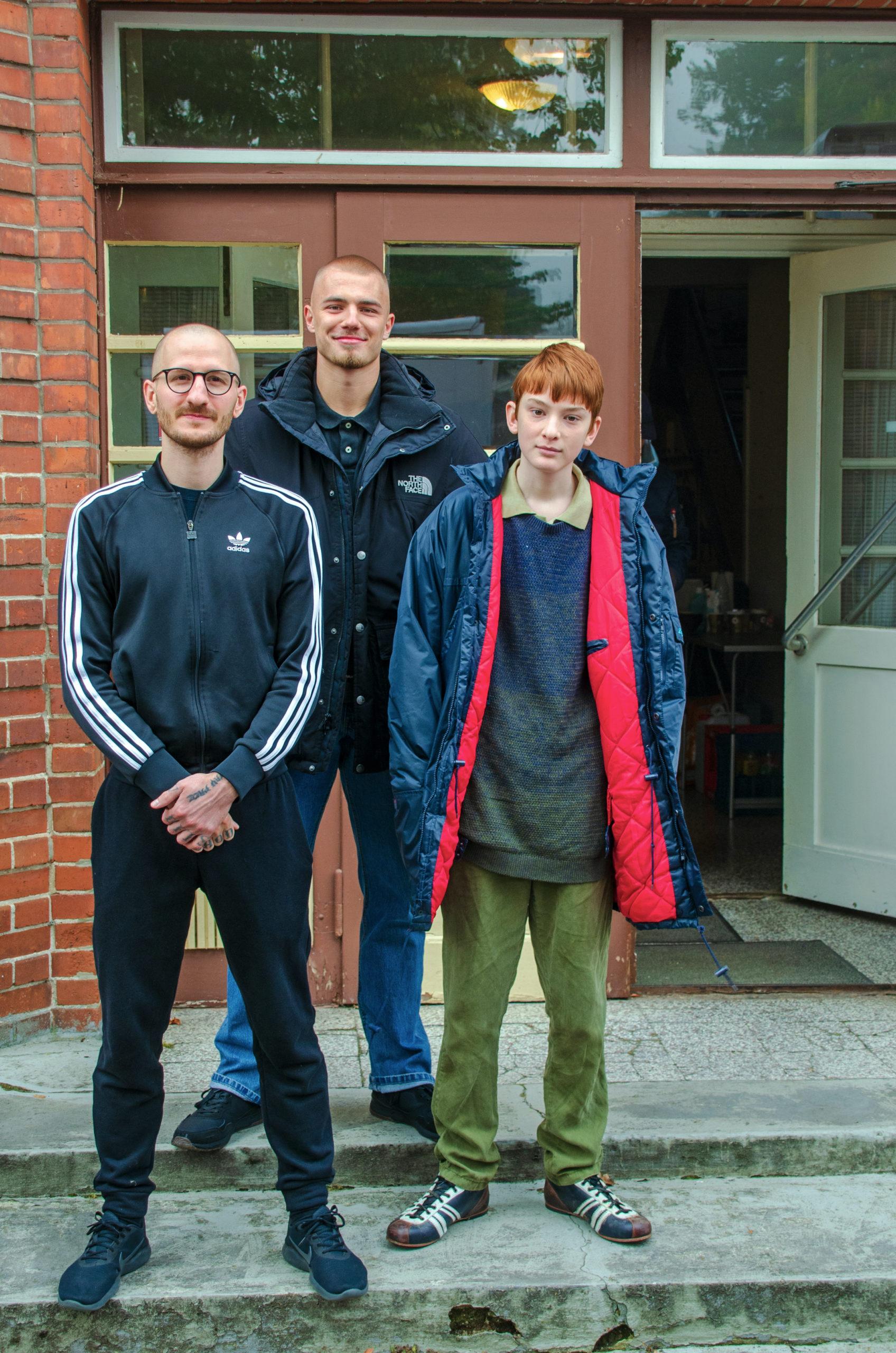 Constantin Hatz (Drehbuch und Regie) mit den beiden Hauptdarstellern Malte Oskar Frank (rechts) und Eric Cordes (mitte).