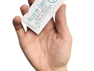 Das neue Desinfektionstuch von Hellma ist praktisch für das To-go-Geschäft